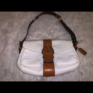 White brown leather hobo satchel handbag coach